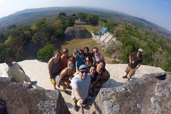 A group of students at Xunantunich in Belize.
