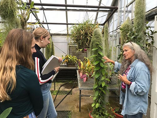 Students and instructor in greenhouse.